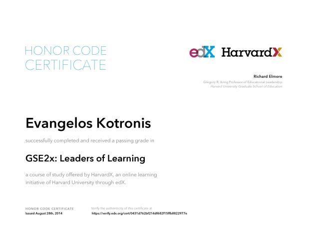 Certificate harvard